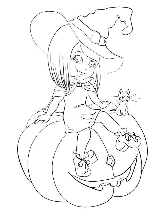 witch sitting on pumpkin