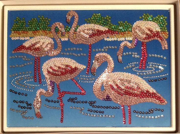 Sequin Art flamingos with beads