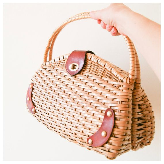 Wicker Handbag Vintage 60s Basket Purse Woven Straw Bag