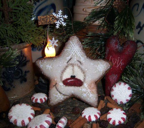 "Primitive 5"" Gingerbread Cookie Ornament Snowman Star Vtg Patti's Ratties Bear"