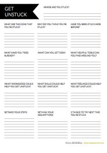 Keep this #writing worksheet to hand for when you get STUCK >> http://eadeverell.com/writer-worksheet-wednesday-get-unstuck/?utm_content=buffer6ff6c&utm_medium=social&utm_source=pinterest.com&utm_campaign=buffer  #amwriting #nanowrimo