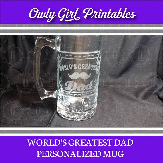 World's Greatest Dad Personalized Large 25 oz. Etched Beer