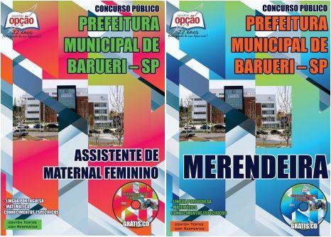 Apostilas Concurso Prefeitura Municipal de Barueri / SP - 2015: - Cargos: Merendeira e Assistente de Maternal Feminino