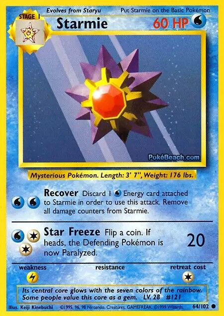 STARMIE | WATER POKEMON | HP: 60 | COMMON POKEMON.