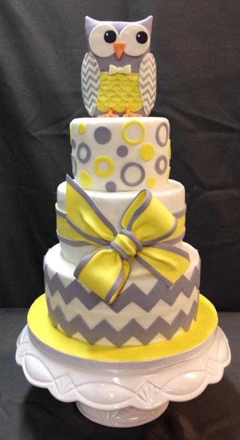 Grey and Yellow Owl Children's Birthday Cake xx