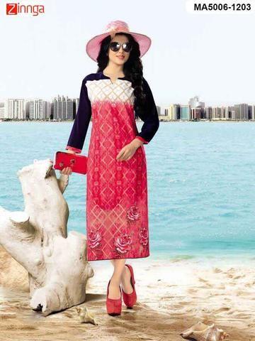 MAYLOZ-Pink Color Cotton Ready Made Kurti - MA5006-1203