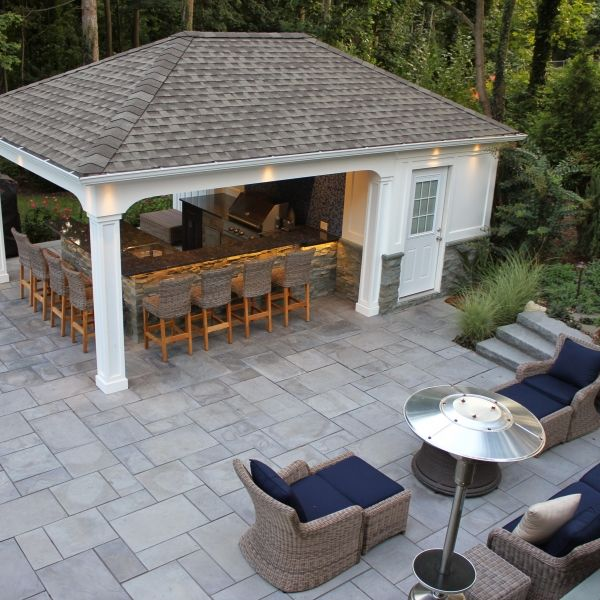 5 Perfectly Amazing Outdoor Kitchen Layout Ideas: 15' X 22' Custom Pool House/Cabana With Outdoor Kitchen