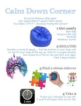 For classrooms, principals office, school counselors office. Anywhere that a child might need a safe place to cool off for a minute. Ive provided printables with 4 actions to help the student calm down. Print, laminate, and hang up in your cool off corner or self-soothe station!