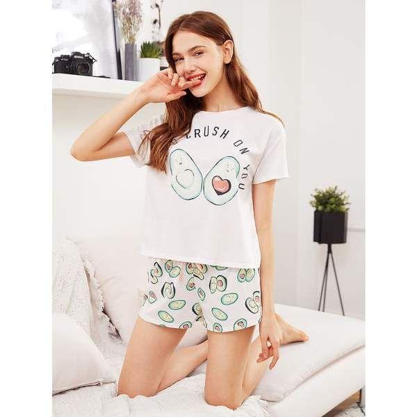 Avocado Print Top And Bow Front Shorts Pajama Set Pajama Set Short Pajama Set Trendy Outfits