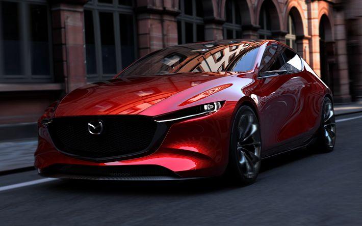 Télécharger fonds d'écran Mazda 3 4k en 2018, les voitures, la nouvelle Mazda 3, au Tokyo Motor Show, Mazda, Kia, Concept