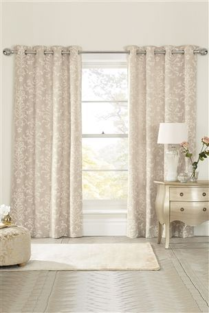Floor length curtains for french doors in lounge Buy Ornate Damask Print Eyelet Curtains from the Next UK online shop