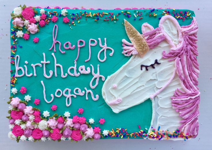 unicorn sheet cake by a place called bethany {buttercream cake}