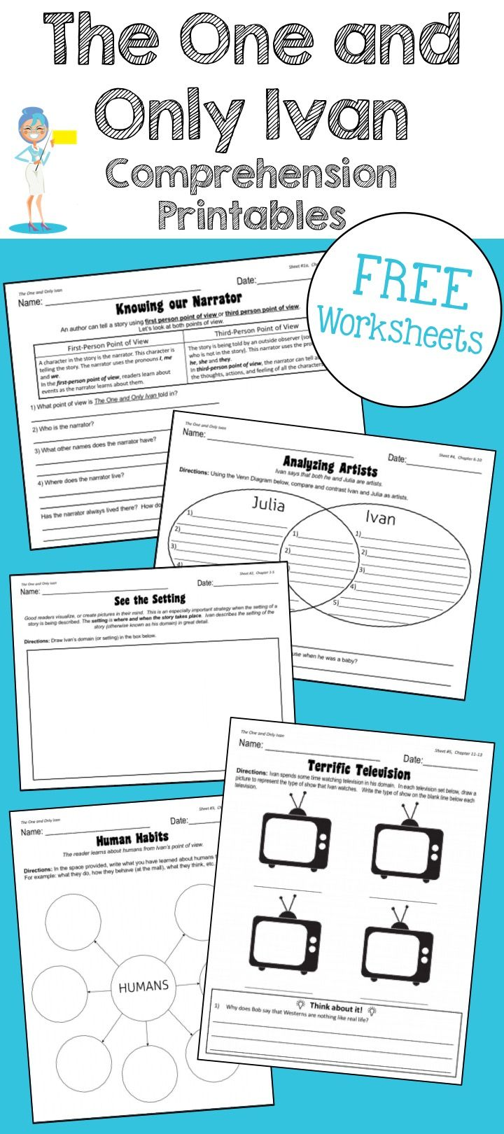 """Your students will LOVE LOVE LOVE working on these comprehension worksheets for """"The One and Only Ivan"""".  These activities not only assess the students' comprehension of the chapter but go on to reinforce story elements, reading strategies, and the author"""