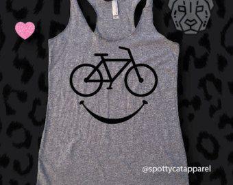BICICLETA feliz Tri mezcla, borde, fitness, yoga, barre, gimnasio, pilates, tanque de entrenamiento, camiseta de la bici, ciclismo camiseta