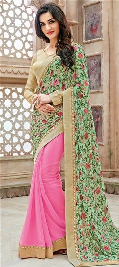 721581 Green, Pink and Majenta  color family Party Wear Sarees, Printed Sarees in Faux Georgette fabric with Lace, Printed work   with matching unstitched blouse.