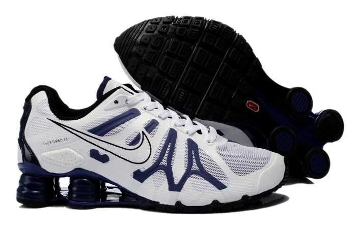 Trainers  Nike Air Shox Turbo  13 XIII Mens White Dark Blue  Nike Shox ShoesAdidas
