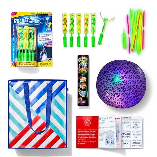 In the Moonlight Game Night Wonderpack, you'll get everything you need to gear up and glow on a cool summer night. Zipped inside this handy tote you'll find glow sticks, Rocket Copters and launchers, a light-up ball and the jam-packed Moonlight Game Night Activity Book. With games like Hide-and-Glow Seek, Bling Toss and Glowworm in the Middle, your family is set for endless hours of nighttime fun.