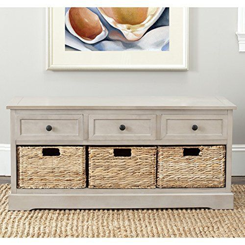 Keep clutter tucked away in the Damien 3-drawer storage unit offering stylish organization for entryways, family rooms and bedrooms. Crafted of sturdy pine with a vintage gray finish, Damien offers three handy drawers for smaller items above three ample wicker baskets that slide in and out for... more details available at https://furniture.bestselleroutlets.com/accent-furniture/storage-chests/product-review-for-safavieh-home-collection-damien-vintage-grey-3-drawer-storage-uni