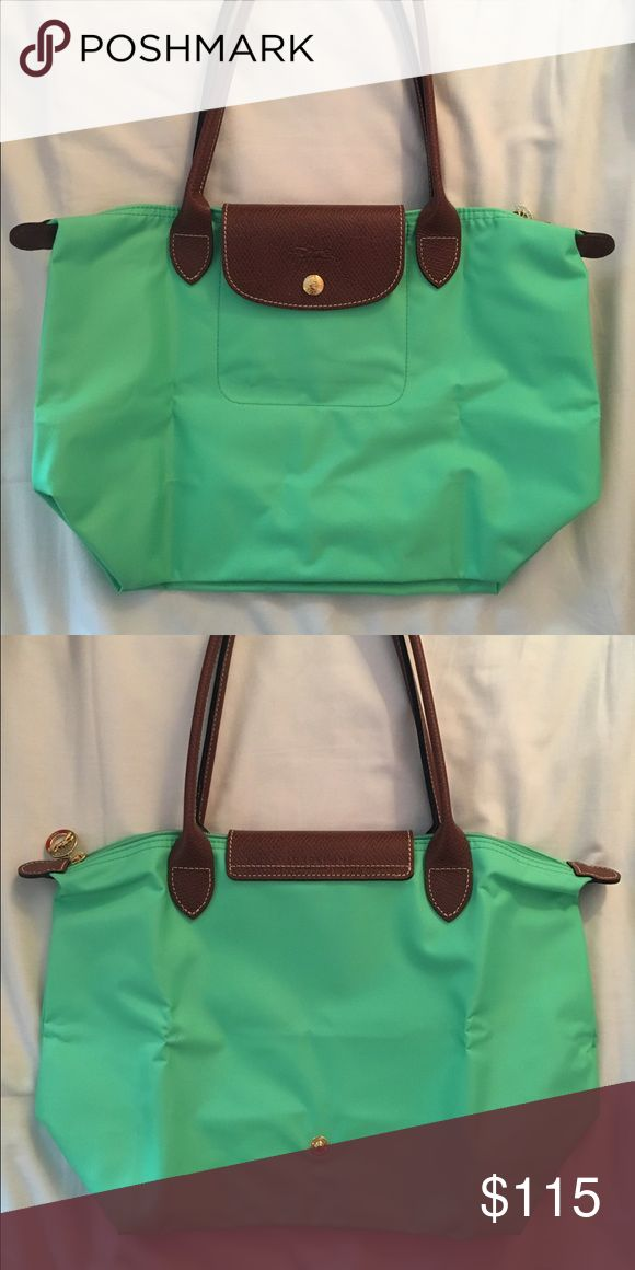 Longchamp green / teal mini tote Never used, bought in France at original long champ store, willing to negotiate!  Longchamp Bags Mini Bags