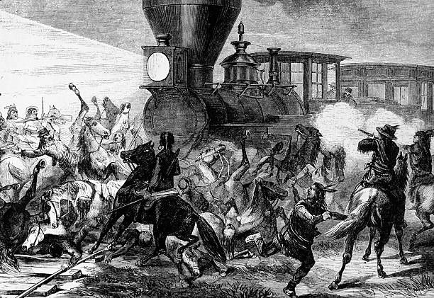 Union Pacific Railroad train is attacked by a gang of Native Americans