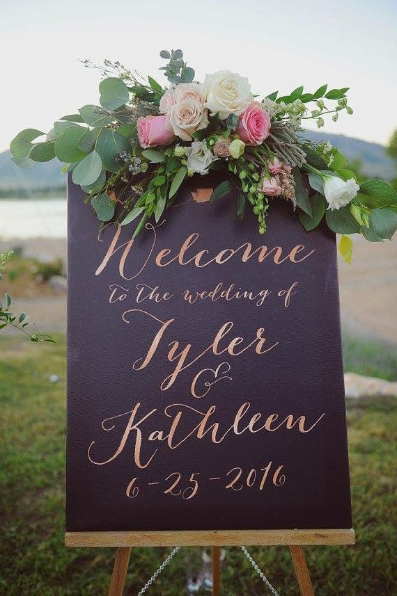 This wedding welcome sign features dynamic type for a modern, chic look. You get to customize this wedding welcome sign with your names, date, and the colors and fonts of your choice. All info for ordering, customization, turnaround time, and more is below :)  PRINTING & SIZE OPTIONS This print is available in matte paper, foam board, or gallery wrapped canvas. The matte paper will need to be framed. The canvas (most popular option) comes ready to hang on the wall with hanging hardware on...