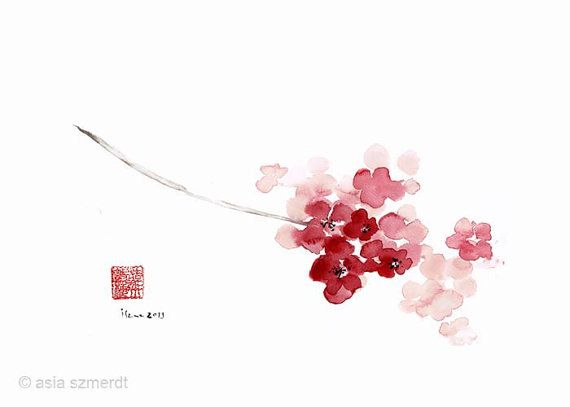 CHERRY Blossom Sakura Pink Flower Flowers Delicate Branch Brown GICLEE fine art print of watercolor PAINTING