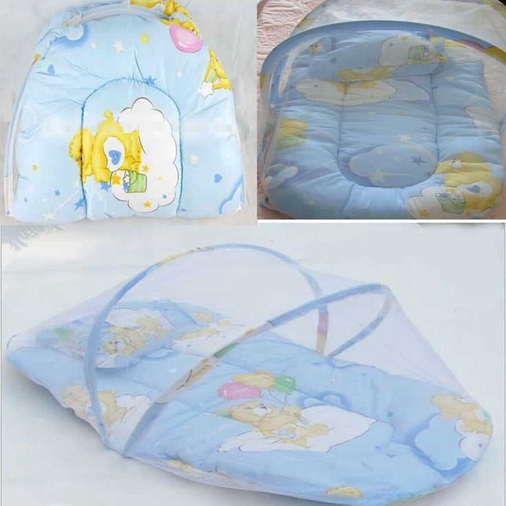 Portable+Baby+Bed+Crib+Folding+Mosquito+Net+Infant+Cushion+Mattress+Pillow+(BLUE