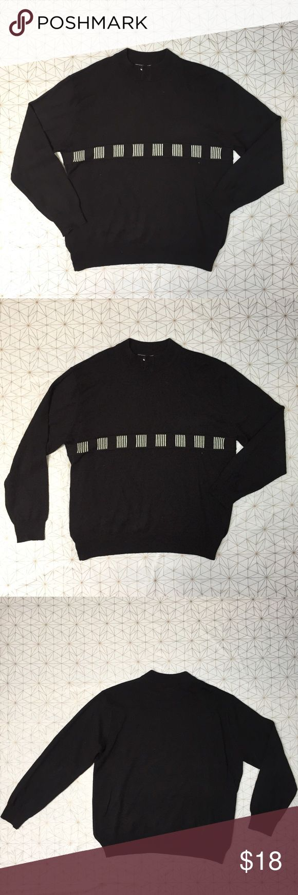 """Le Monde Homme Couture men's black & white sweater - Size: XL - Material: 80% acrylic 20% wool - Condition: very minor pilling  - Color: black and white - Pockets: no - Lined: no - Closure: none - Style: black and white long sleeve sweater with button design near neck  - Extra notes:   *Measurements:  Chest: 25"""" flat  Waist: 24.25"""" flat Length: 28.5""""  Sleeve: 25"""" from shoulder  Rise: Inseam: Le Monde Sweaters Crewneck"""