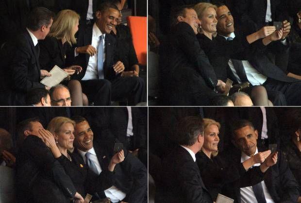 "Foto ""Selfie"" Presiden Obama saat Acara Mengenang Mandela"