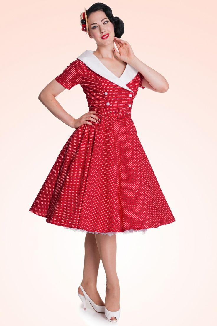 50s Retro Claudia Swing Dress In Polka Red White In 2019