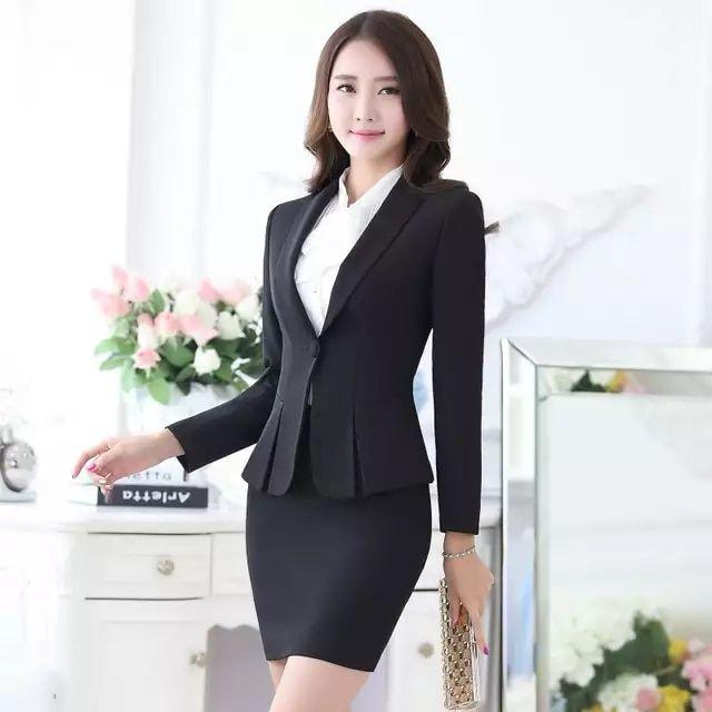 Formal negro Blazer mujer negocios trajes con falda y Top conjuntos  elegantes señoras Oficina trajes trabajo desgaste uniformes OL estilo 3853b50b9dad