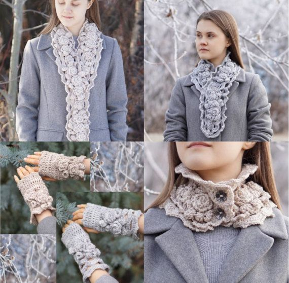Crochet Patterns: Includes 4 patterns, 3 different Elegant Rose scarf patterns and 1 Elegant Rose hand and arm warmer pattern, 4 patterns