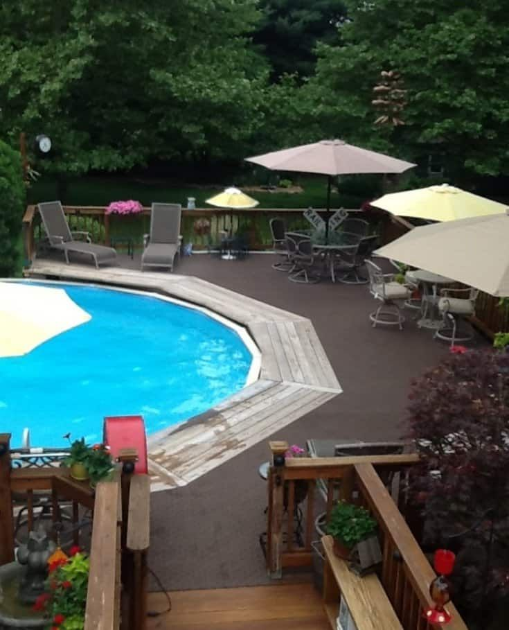 14 best exterior home colors images on pinterest color for Multi level deck above ground pool