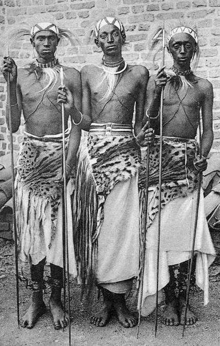 Africa | Dressed for the Parade. Rwanda || Scanned old postcard; Mission of the White Fathers
