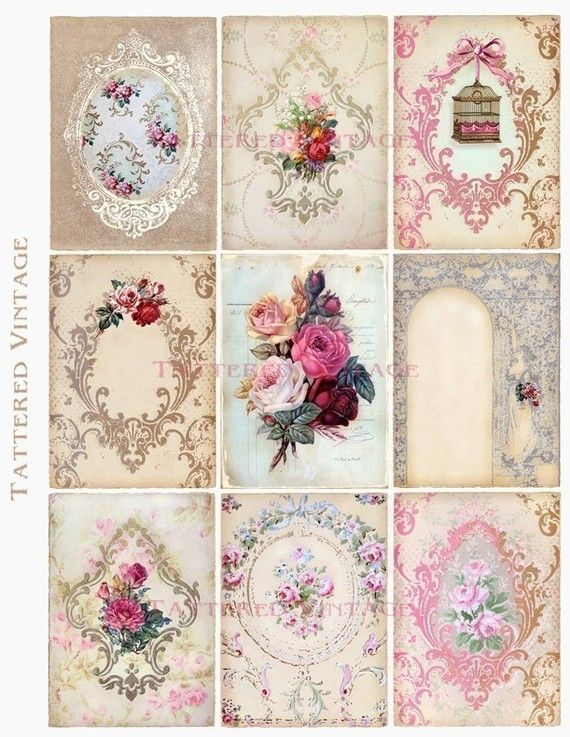 Holiday SALE Buy 2 get 1 FREE  Digital Download no.188 ATC Backgrounds Tags Antique Wallpaper Collage Sheet Tattered Vintage 188