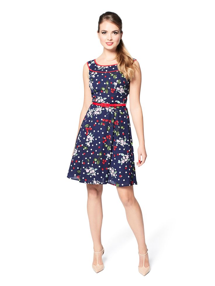 Cherry Floral Dress | Navy & Multi | Dresses