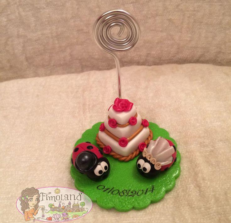 portafoto coccinelle matrimonio con torta e data interamente realizzata a mano con Fimo.