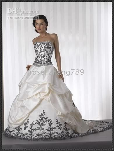 Wholesale Prevalence Sexy White Black Embroidery Debutante Prom Gown Winter Wedding Dresses Custom Size Free
