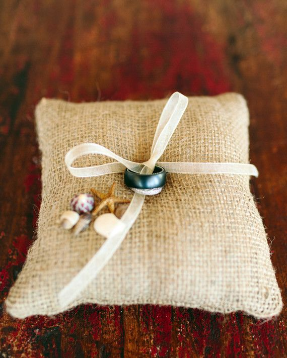 This ring pillow from Sparkle & Posy featured mini seashells…