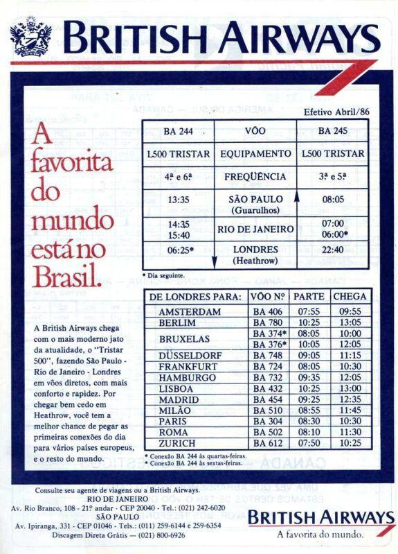 British Airways 1986 Brasil Information