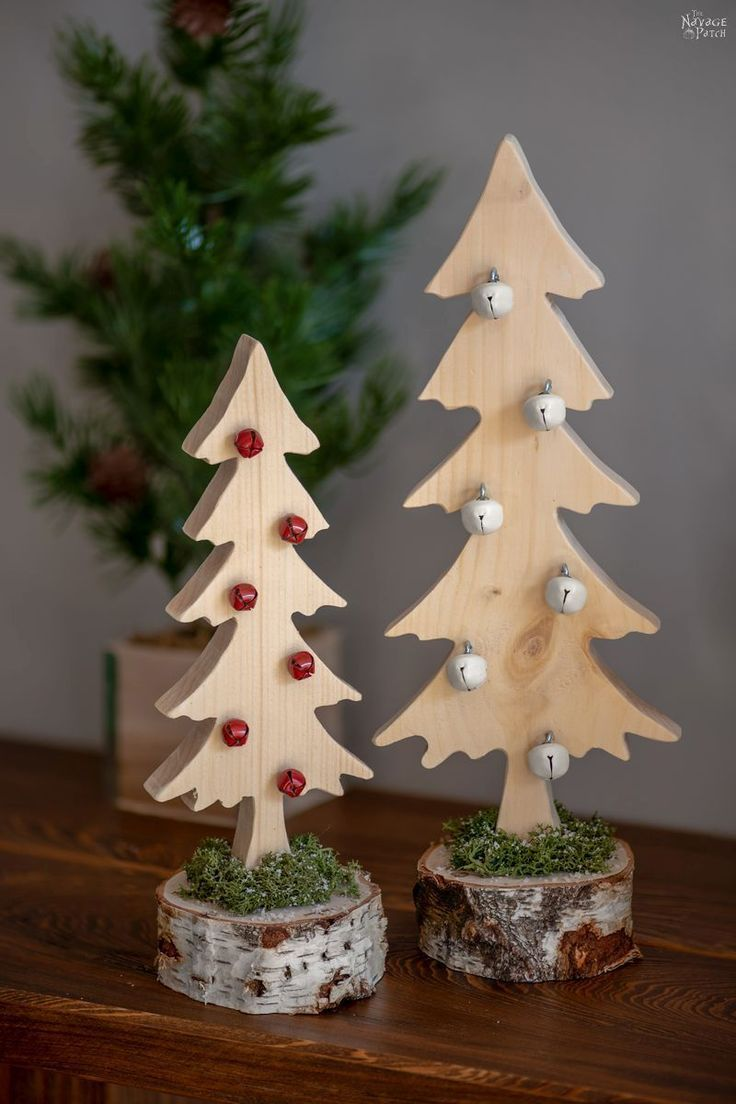 Diy Wood Alpine Tree With Jingle Bells Wooden Christmas Trees Diy Wooden Christmas Trees Wooden Christmas Crafts