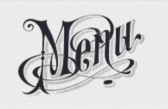 Menu Sign Cross Stitch Pattern, Vintage Typography Instant Download Counted Cross Stitch Chart, PDF Digital Download