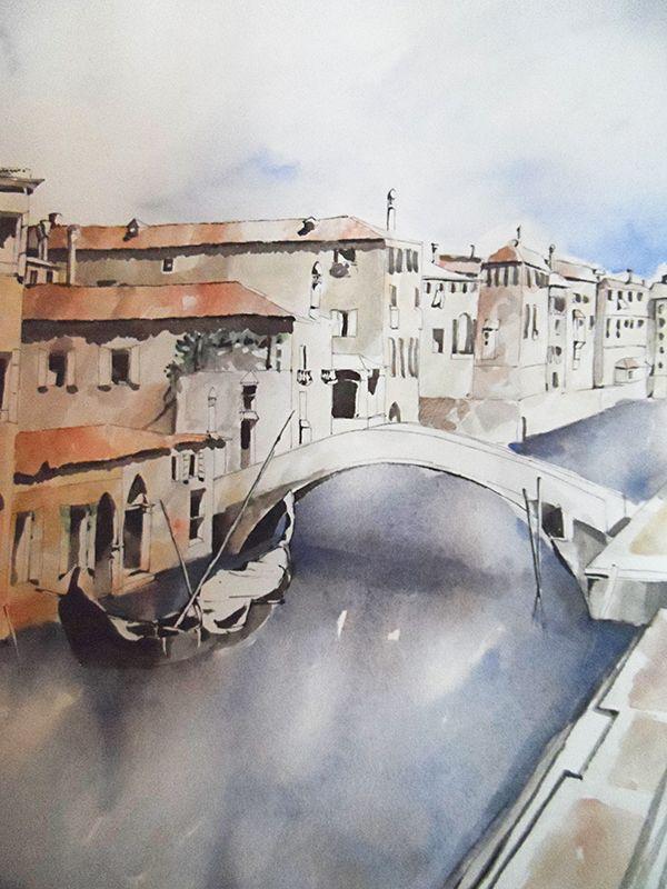 """""""Venecia"""". Acuarela y tinta sobre papel (década de los 80) • """"Venice"""""""