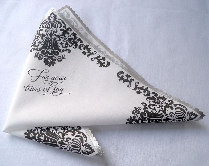 Wedding handkerchief for your tears of joy, mother of the bride or groom wedding favor, black and white damask, non-custom by ArtfulBeginnings on Etsy https://www.etsy.com/listing/247083035/wedding-handkerchief-for-your-tears-of