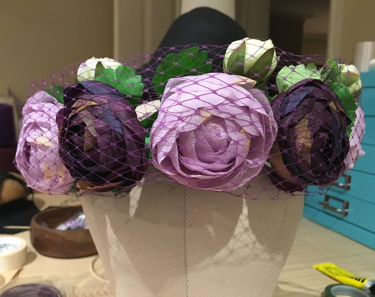 Purple and mauve flower crown wrapped in veiling on my etsy store. Gorgeous for races, bridal, bridesmaid or hens party. More colours coming.