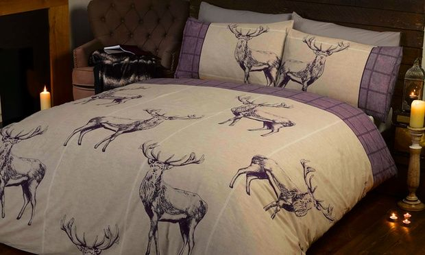 Add classic British style to bedrooms with cosy duvet sets featuring Highland stags with marching pillows in a choice of colour and size