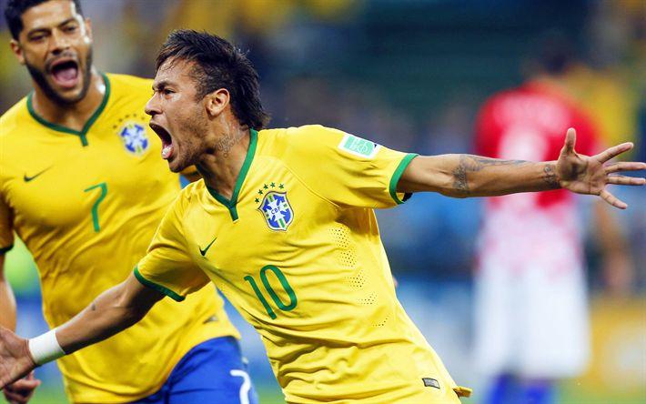 Download wallpapers 4k, Neymar, Brazilian footballers, goal, Brazil, football, Brazilian soccer team, Neymar Jr