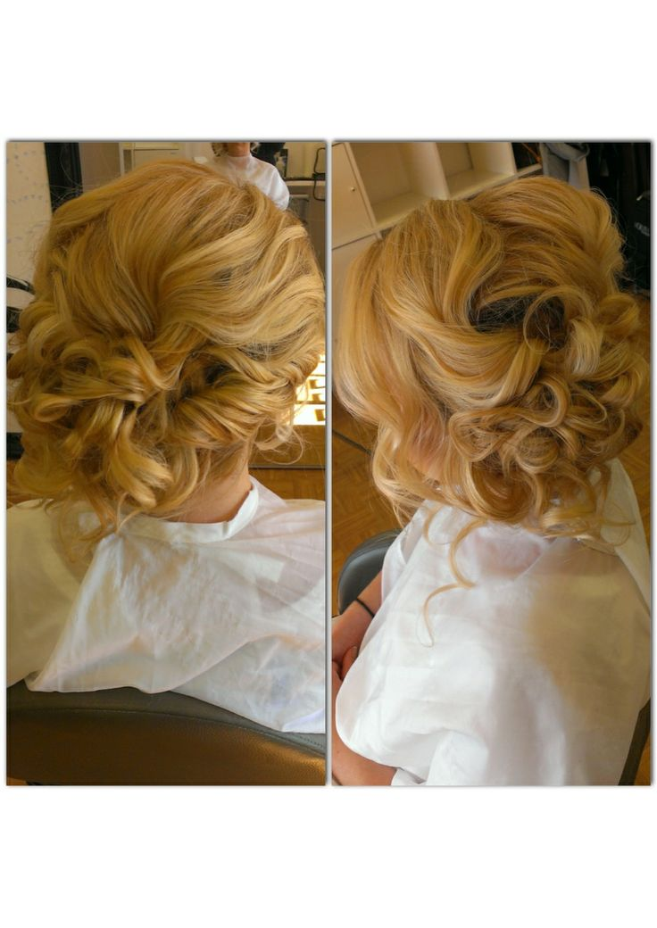 Bridal Hair Wedding Hair Side Swept Side Bun Messy Updo Updo Curly Bun Curls ...