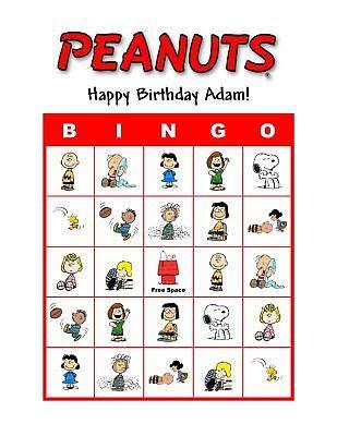 Peanuts Snoopy Charlie Brown Birthday Party Game Bingo Cards