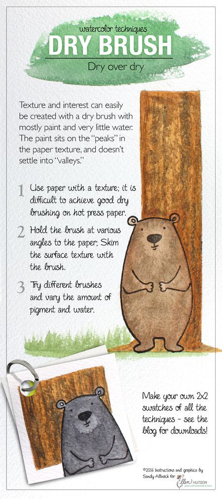 Tips for the Dry Brush Technique when watercoloring. Designed by @sandyallnock for the #EllenHutsonLLC blog. #EssentialsbyEllen #WatercoloringwithSandy
